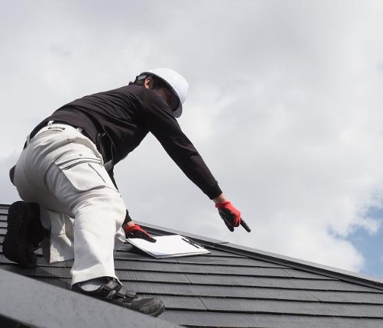 屋根をチェックする人